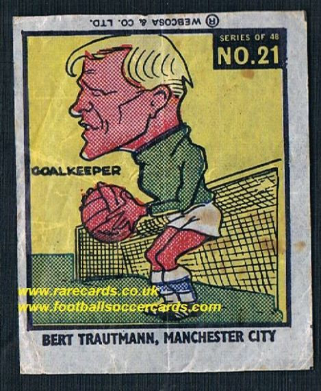 1960 Webcosa Bert Trautmann Man City original wax paper gum insert